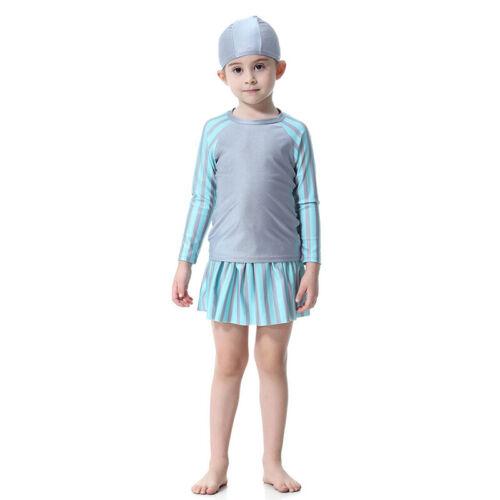 Kids Girls Swimwear Muslim Islamic Full Cover Beachwear Modesty Swimsuit Burkini