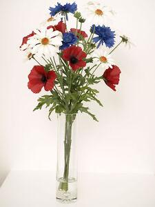 Image is loading Artificial-Flower-Arrangement-in-tall-vase-Artificial-Silk- & Artificial Flower Arrangement in tall vase Artificial Silk Mixed Flowers