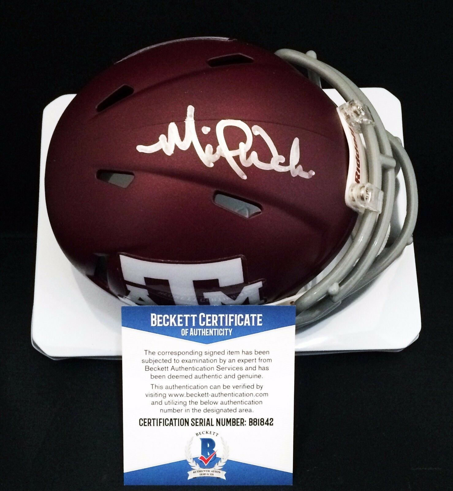St Louis Cardinals Michael Wacha Signed Texas A&M Football Mini Helmet BAS