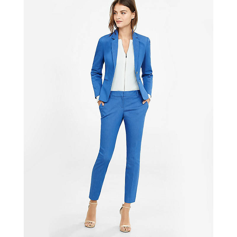 Lake bluee Womens Trouser Suits Groom Tuxedo Ladies Business Suits Female Suits