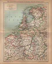 Landkarte map 1902: SCHIFFAHRTSSTRASSEN BELGIEN NIEDERLANDEN. Schiffe Nautik