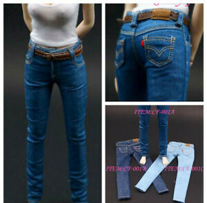 """1//6 Scale High Quality Female Skinny Jeans Model for 12/"""" Body Action Figure Doll"""
