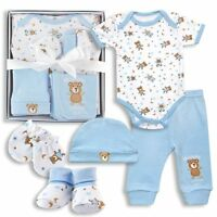 Baby Boy Clothes Shower Gift 5 Piece Set 0-3 Months Mommy Loves Me Bear Blue