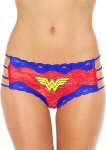 Wonder-Woman-Side-Strings-Lace-Hipster-Logo-2X-Red-Blue-Comic-Fan-Lingerie-Gift