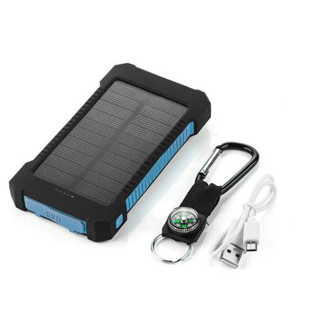 External Battery 50000mAh Power Bank Solar Charger 2USB LED for Universal Phone
