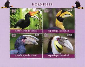 Chad-2018-CTO-buceri-Bucero-4v-M-S-birds-stamps