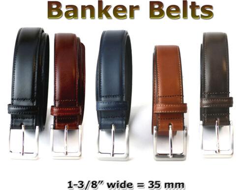 """MEN/'S GENUINE LEATHER 35 MM = 1-3//8 /"""" DRESS BANKER BELT FIVE COLORS"""
