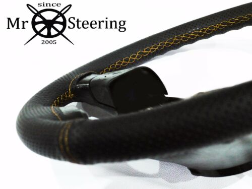 FOR VW TRANSPORTER T25 PERFORATED LEATHER STEERING WHEEL COVER YELLOW DOUBLE STT