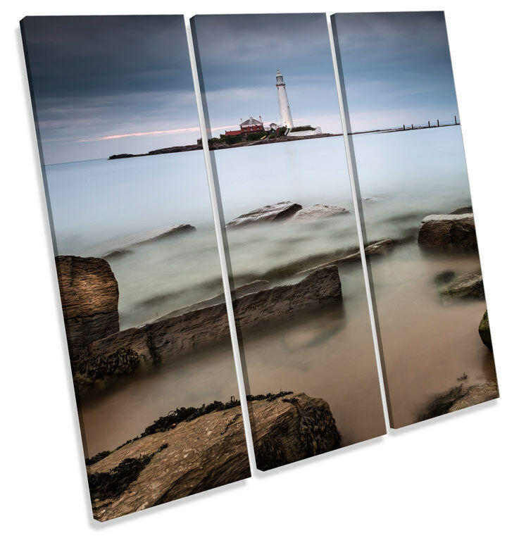 St Marys Island Lighthouse Tynemouth TREBLE CANVAS Wand Kunst Square Drucken Bild