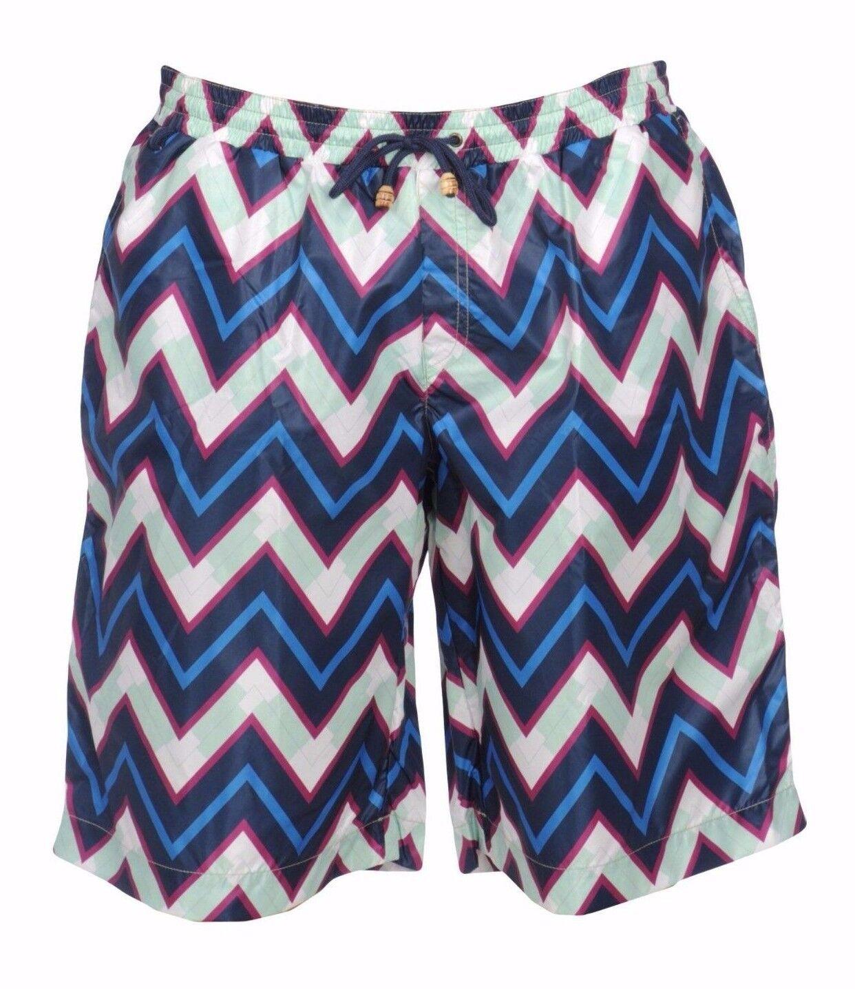 NWT Authentic MISSONI MARE Zigzag Printed Swim TRUNKS Shorts Beachwear XL
