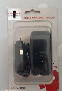 Triple Chargeur pour voiture/ adaptateur pour placer 3 chargeurs