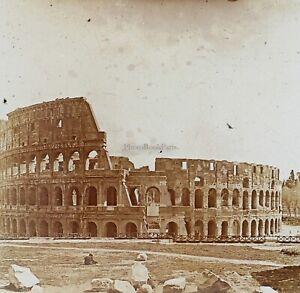 Roma Colosseo Italia Foto Stereo PL52P1n29 Placca Da Lente Vintage
