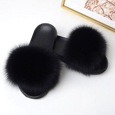 Womens Winter Indoor Plush Slippers Flat Bottom Warm Fox Fur Slippers Ladies Fluffy Furry Slippers Fur Slides Flip Flops,Black,9
