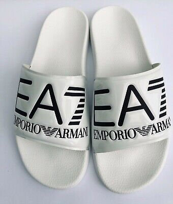 Emporio Armani Ea7 Shiny White Sliders Sandals Shoes Sizes Uk 6 - 11 Bnib Elegant Im Geruch