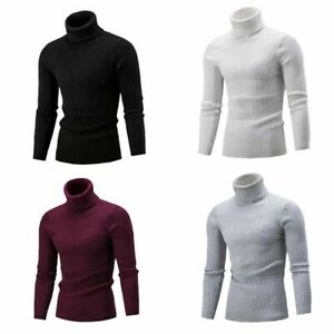 Turtleneck-Men-039-S-Lightweight-Knitted-Cable-Pullover-Slim-Fit-Sweater-Knit-Winter