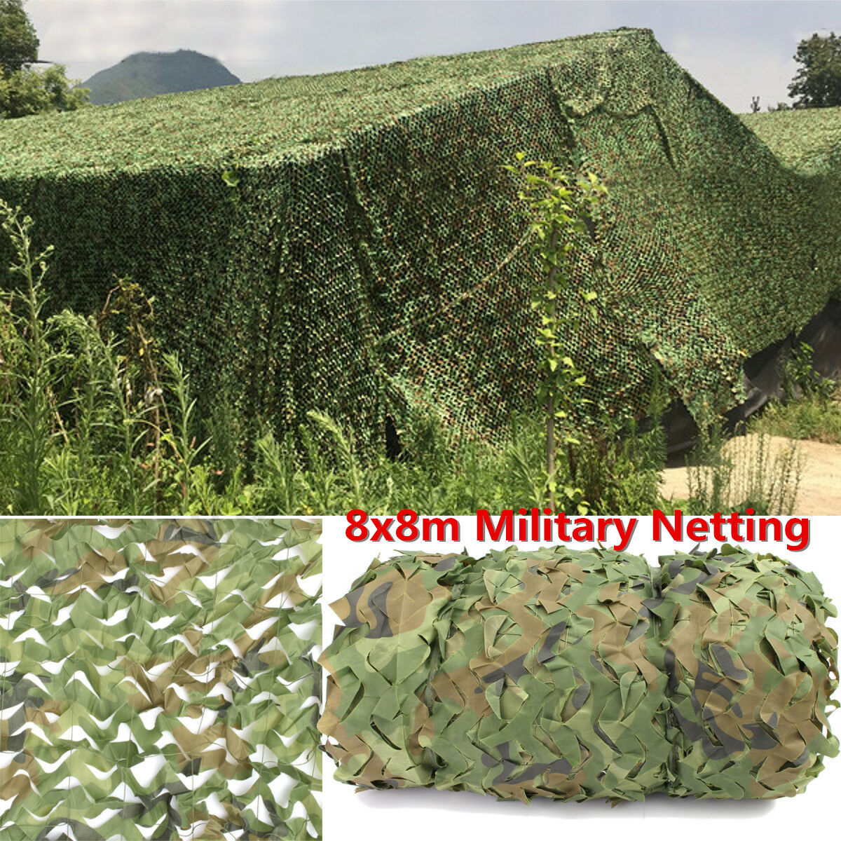 8MX8M Woodland  Camouflage Netting Military Army Camo Hunting Hide Camp Cover Net  perfect