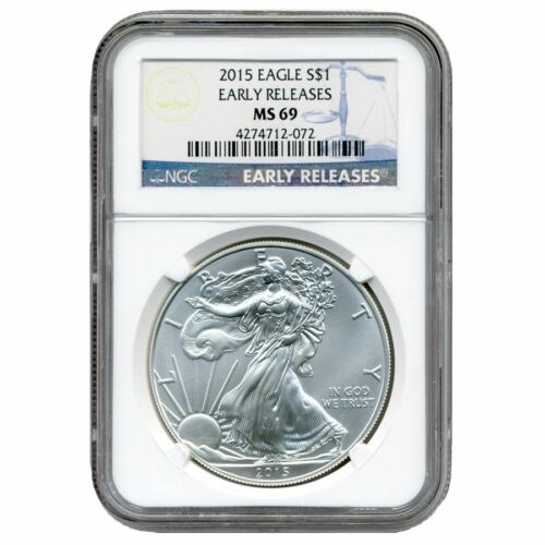 2015 American Silver Eagle NGC MS-69 Early ReleaseBlue Label