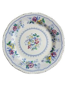 "Stunning Ridgways Lynton England Fine Blue China 6 Antique Dinner Plates 10"""