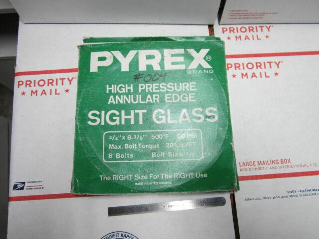 PYREX SIGHT GLASS WINDOW HIGH PRESSURE ANNULAR EDGE VERY NICE BIN#27