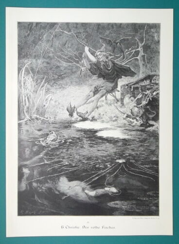 RED FISHERMAN Devil/'s Decoy Catching Mermaids VICTORIAN Era Print