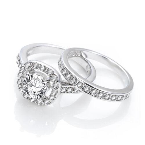 Dazzling White Sapphire Ring Set Valentine/'s Day Gift Engagement Wedding Ring UK