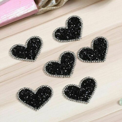 Black Love Heart Melt Drilling 5pcs//lot Rhinestone Parches Ropa Iron On Patches