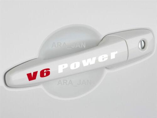 V6 POWER Sport Decal Sticker Racing Car Door Handle logo emblem Motorsport 2 PCS
