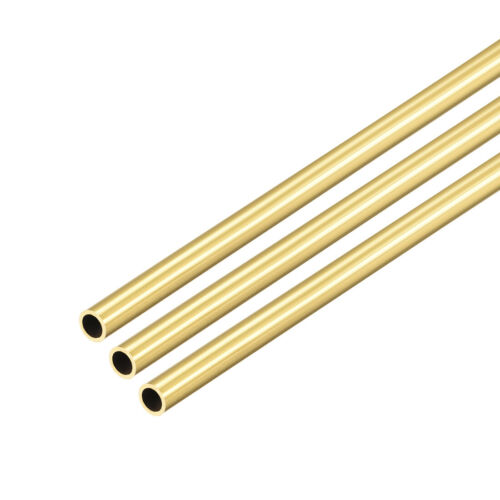 Brass Round Tube 300mm Length 4mm OD 0.5mm Wall Thickness Seamless Tubing 3 Pcs