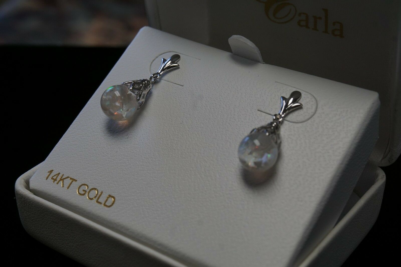 14k White gold Floating Opal Earrings 8mm