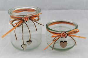 2 X Windlicht Vase Hochzeit Tischdeko Spitze Taufe Vintage Td0080