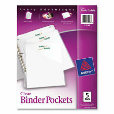 Avery Binder Pockets 3 Hole Punched 9 14 X 11 Clear 5pack 75243