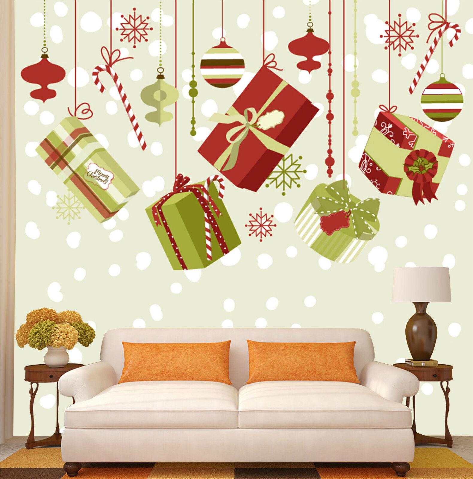 3D Weihnachten Hängende Geschenk Fototapeten Wandbild Bild Tapete Familie Kinder