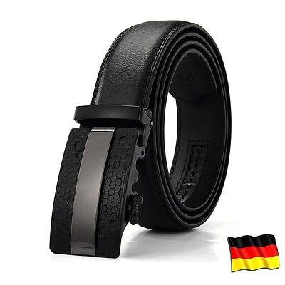 Mode Herren Gürtel Automatik Schnalle Echtes Leder Herrengürtel Ratchet Jeans