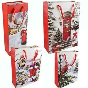 Tradizionale-Natale-Carta-Regalo-portante-Sacchetti-Natale-Inverno-Glitter-Design
