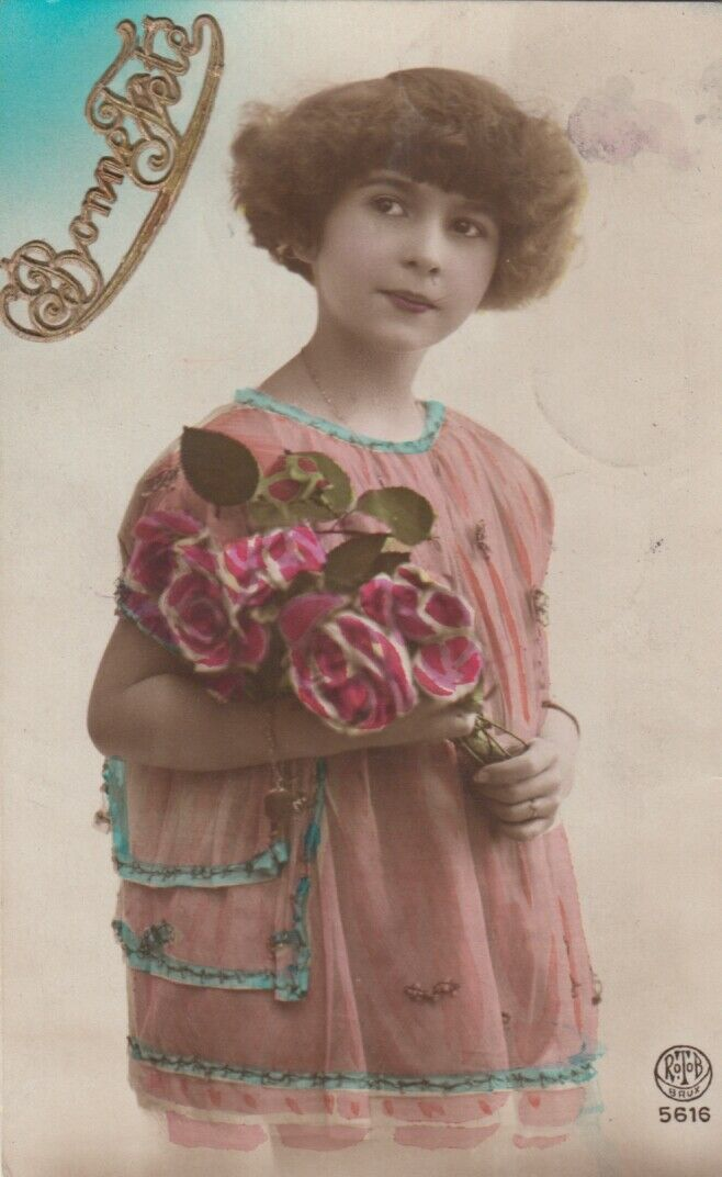 RP: BONNE FETE, PU-1919; Girl holding bouquet of roses