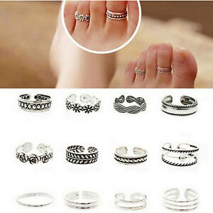 12PCS-Vintage-Celebrity-Jewelry-Silver-Adjustable-Open-Toe-Ring-Finger-Foot-Gift