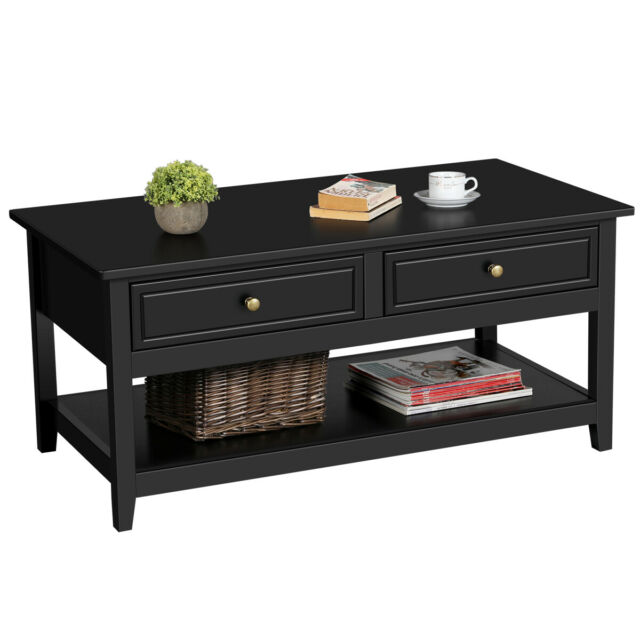 Coffee Table with 2 Drawers and Storage Shelf, Occasional Table for Living  Room