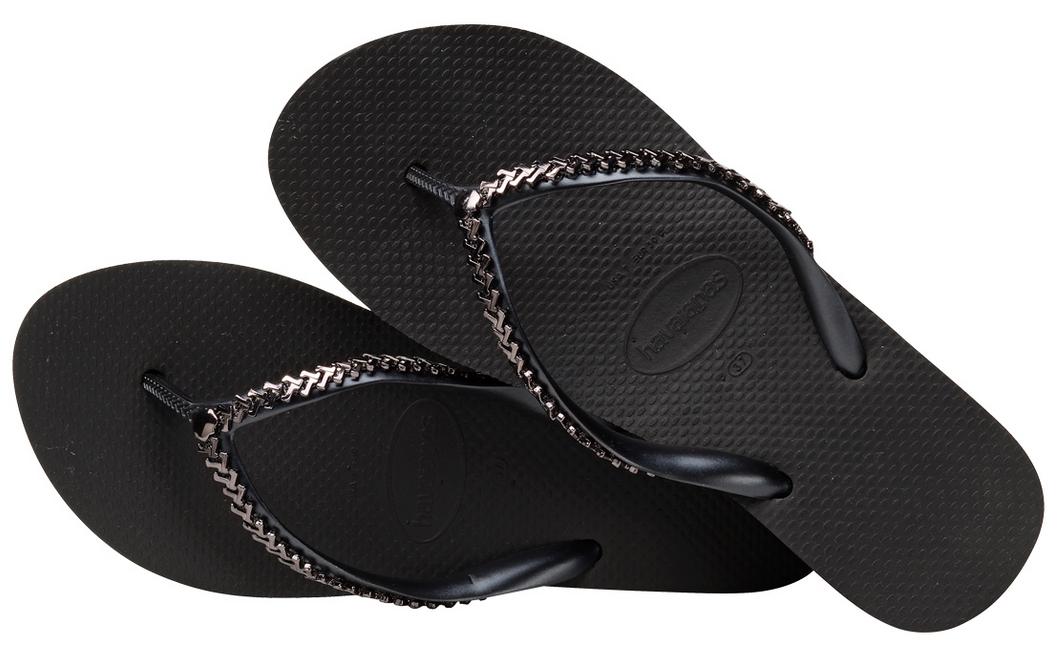 Havaianas Ojotas de Mujeres Sandalias Sandalias Sandalias De Cuña Con Negro Metal Alta Grega Nuevo con etiquetas  mejor vendido