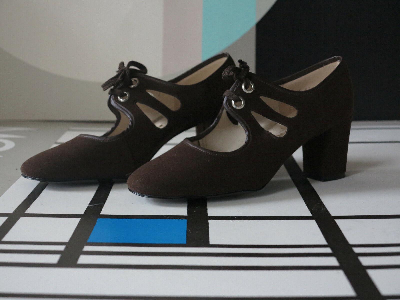 AMORIAL Damen Schuhe Pumps braun 60er TRUE VINTAGE 60s damen high heels NOS