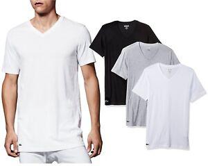 b9177349 Details about NEW Lacoste Men Underwear 100% Supima Cotton 3-Pack V-Neck T- Shirt Ram8801