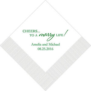 Wedding Cocktail Napkins.Details About 100 Cheers Marry Life Printed Wedding Cocktail Napkins