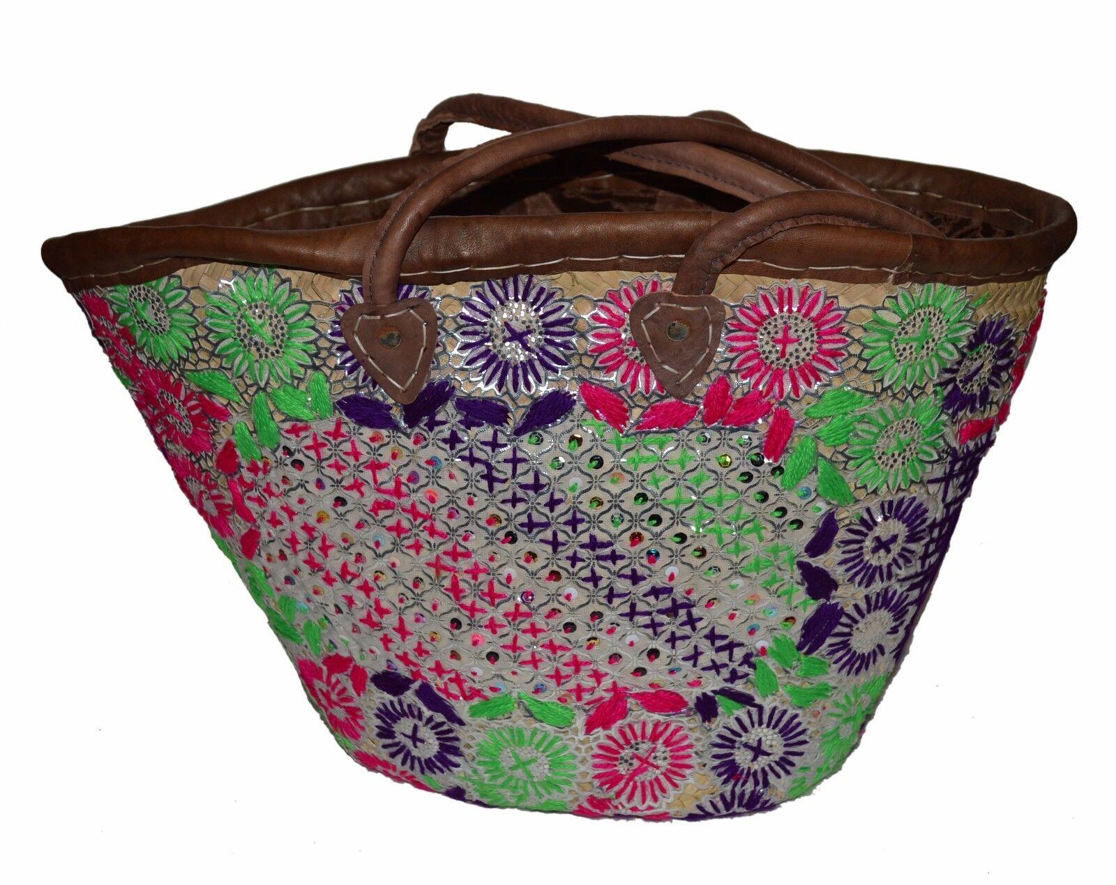 Mgoldccan Straw Beach Bag Handmade Woven Fashion Beach Basket Shopper Bag Large