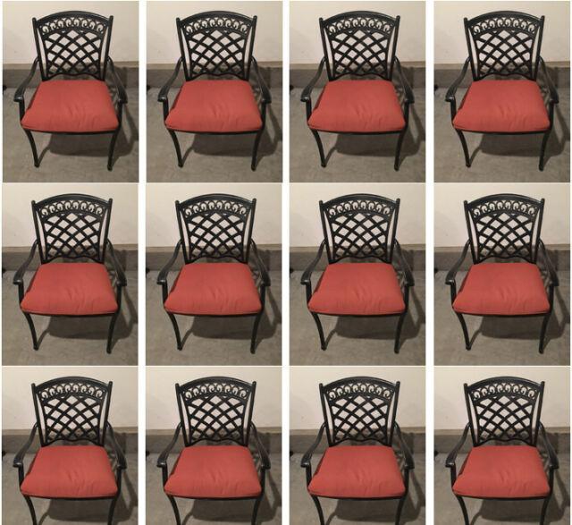 Patio dining chair set of 12 aluminum outdoor furniture restaurant seating