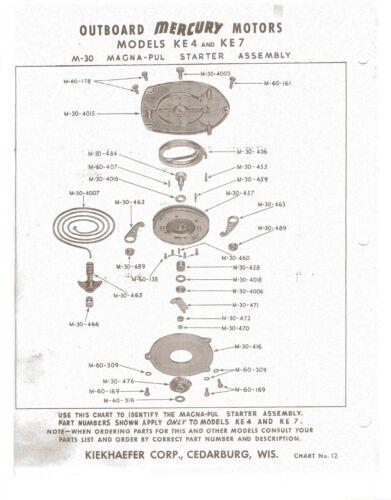 /'47-/'54 Vintage MERCURY  Models: KE-4 /& KG-4 Outboard Service Manual 7.5Hp