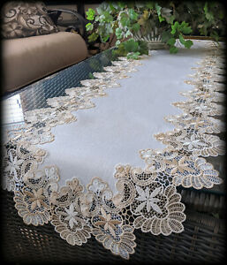 """Dresser Scarf Lace Table Runner  72""""x16""""  Doily Neutral Beige Tan Antique White"""