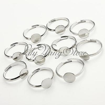 10Pcs Adjustable Flat Metal Silver Plated Ring Blanks Findings Pad Bases 8mm DIY