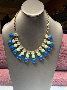 Women-s-Ladies-Necklace-Gold-Tone-Rhinestone-Blue-Green-Bohemian-Pendant-Bib