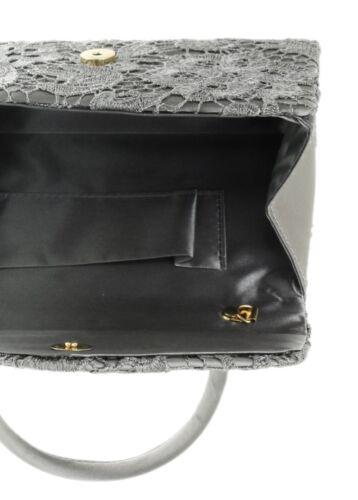 Lace Satin Top Handle Handbag Clutch Bag Ladies Evening Wedding Vintage Prom