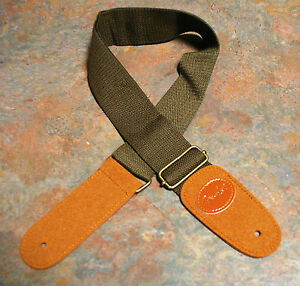 GUITAR-STRAP-NEW-COTTON-LEATHER-DARK-KHAKI-BROWN-EMBOSSED-WITH-LOGO