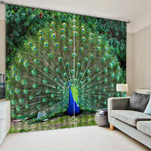 Two Peacocks Butterfly 3D Blockout Photo Printing Curtains Draps Fabric Window